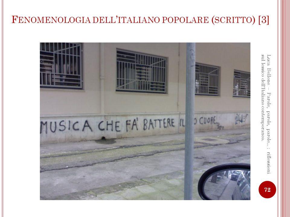 Fenomenologia dell'italiano popolare (scritto) [3]